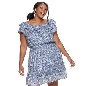 NWT Juniors' Plus Size Off Shoulder Ruffle Dress